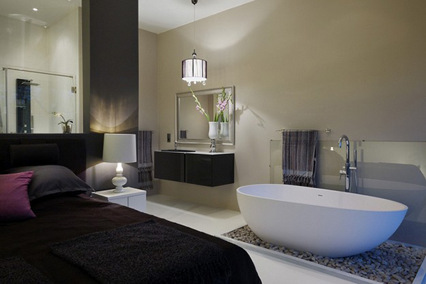 Design for the romantic bathtubs in the bedroom for Master bed and bath remodel