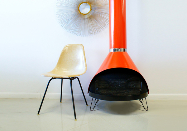 15 hanging and freestanding fireplaces to keep you warm - Mid century modern wood stove ...