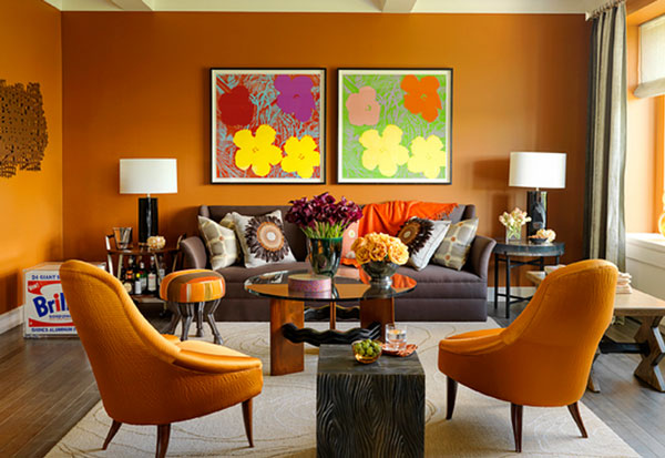 Andy warhol 39 s pop art makes a special appearance indoors for Orange and yellow living room ideas