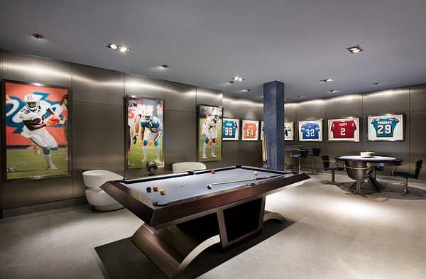 A classy to create a basement mancave Framed Jerseys: From Sports Themed Teen Bedrooms To Sophisticated Man Caves!
