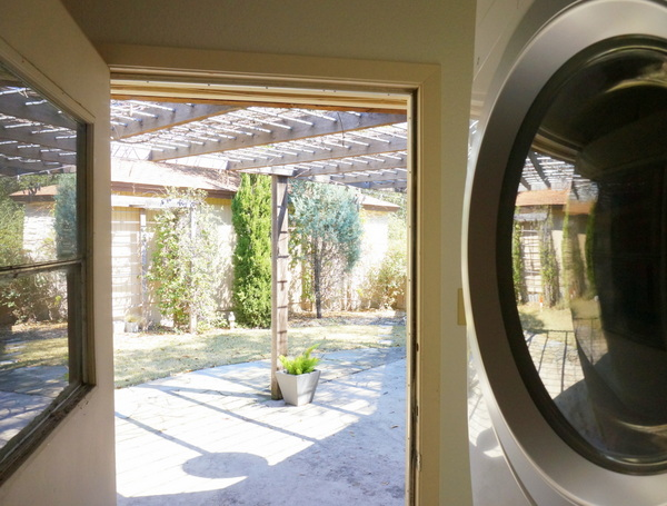 A laundry room with a view