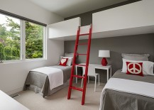 A loft bunk bed and workstation idea perfect for the adult bedroom