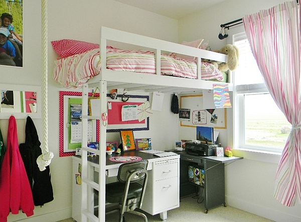 A simple loft bed with a work table underneath saves up on ample space