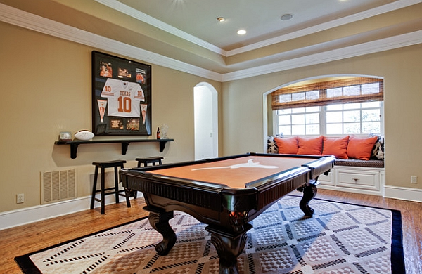 Framed jerseys from sports themed teen bedrooms to for Family game room ideas