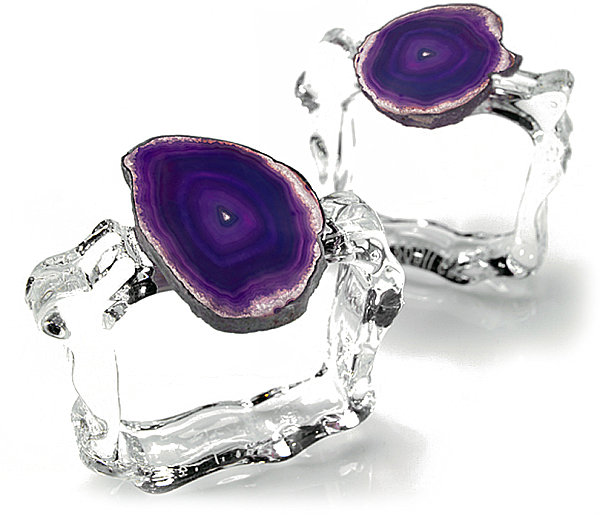 Agate and glass napkin rings