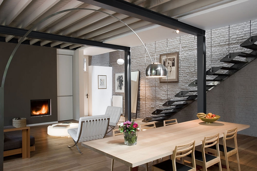 private residence in brussels dazzles with an industrial chic makeover. Black Bedroom Furniture Sets. Home Design Ideas