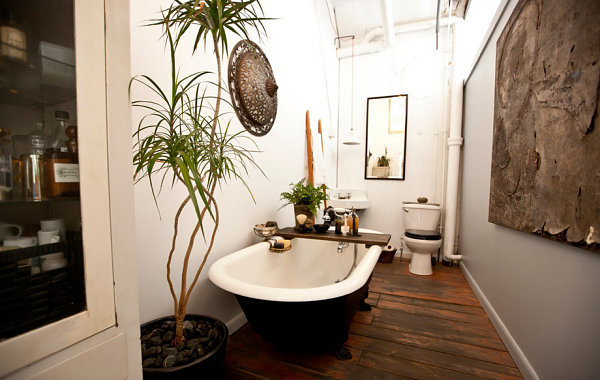 Artistic loft bathroom