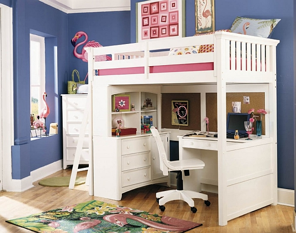 Loft bed with desk underneath white