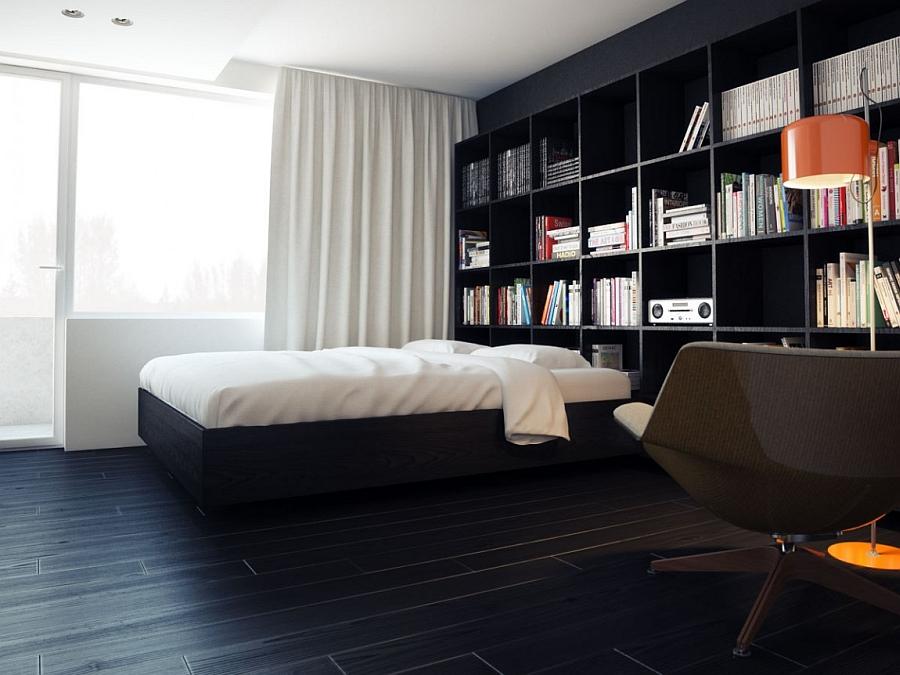 Bedroom display shelf in dark hues