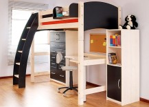 Black-and-white-loft-bed-has-an-undeniable-charm-217x155