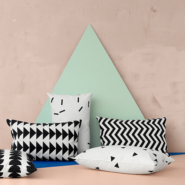 Black and white throw pillows from ferm LIVING