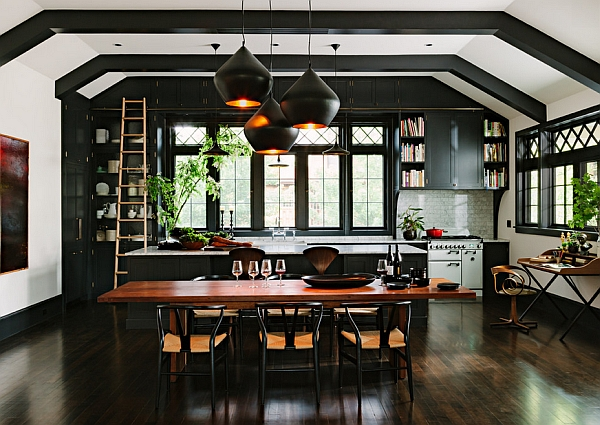 Black cabinets in the backdrop offer the perfect setting
