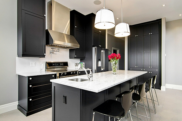 black kitchen cabinets are an ideal choice for those who love contemporary minimalism - Black Kitchen Cabinets Pictures