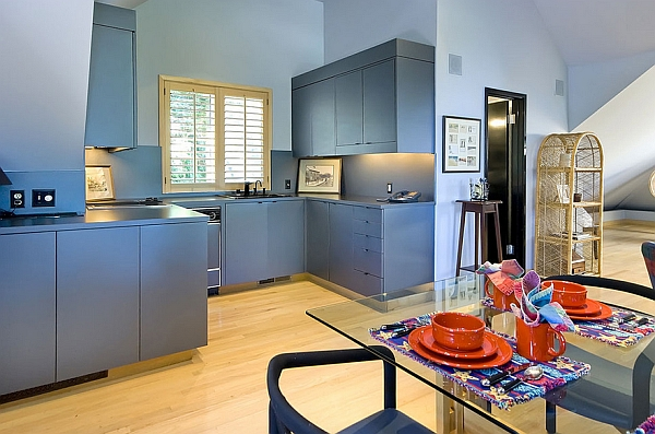 Blissful blue for the kitchen cabinets
