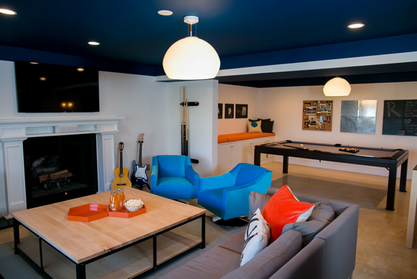 Blue Modern Family Room