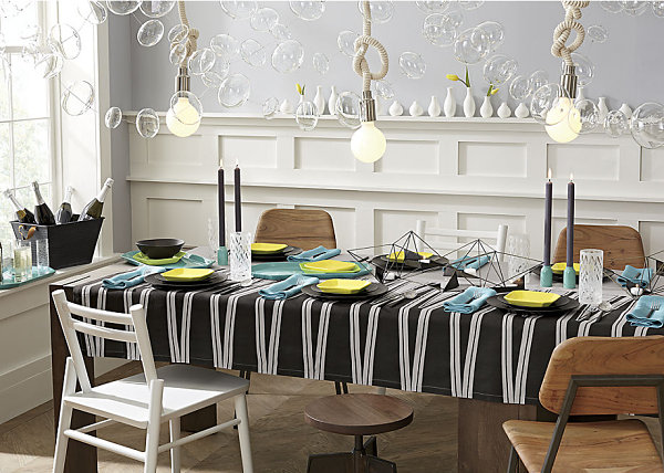 Bold geometric tablecloth Beautiful Table Linens For Spring Entertaining