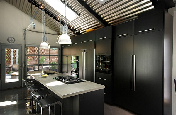 Bold matt black kitchen cabinets create a stylish kitchen