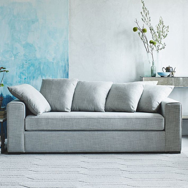 Boxy sofa with loose-back cushions
