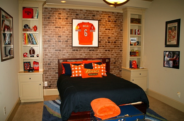 Brick wallpaper gives the room a more eclectic appeal