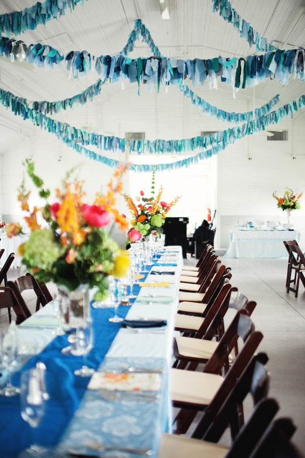 Bright blue table runner