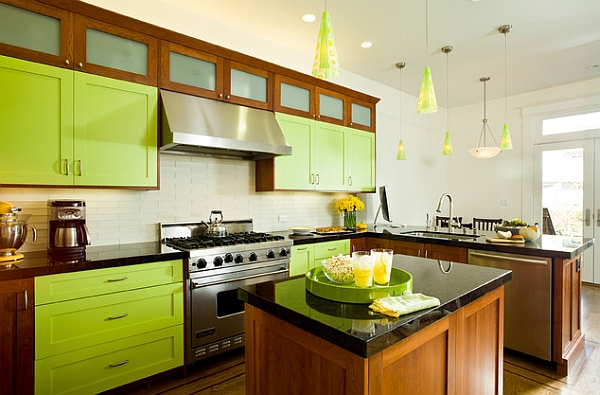 Bright lime green for the kitchen cabinets