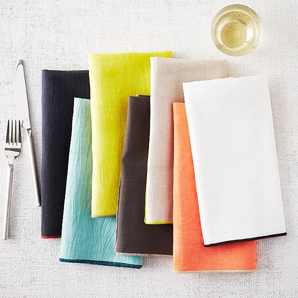 Bright napkins with colorful stitching
