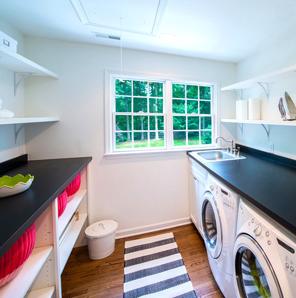 Bright red baskets on laundry room shelving