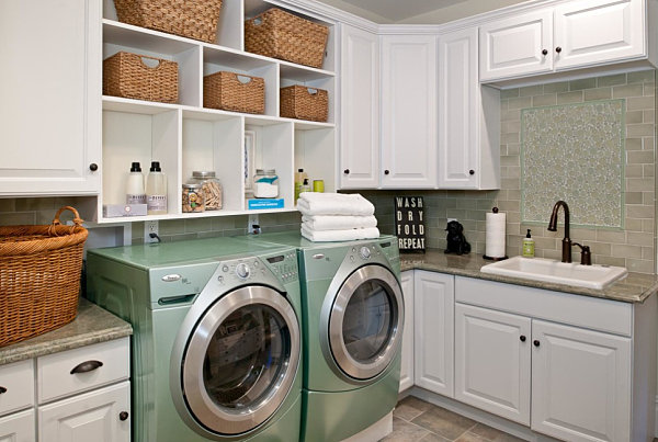 Built-in laundry room shelving