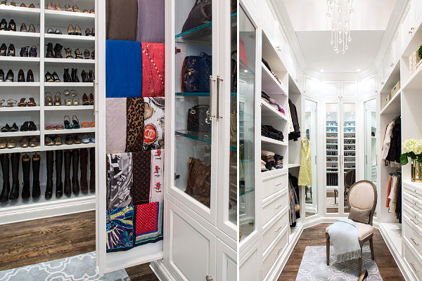 Built-in rod provides scarf storage in a beautiful closet