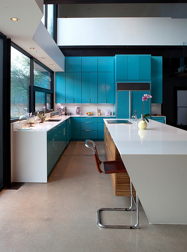 captivating beige gloss kitchen | Captivating use of blue kitchen cabinets in the ...