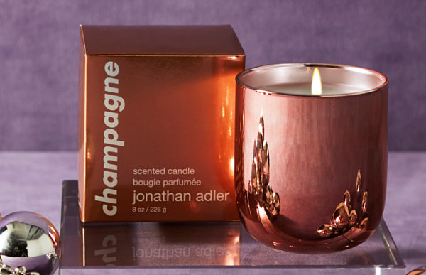 Champagne candle with rose gold-toned votive