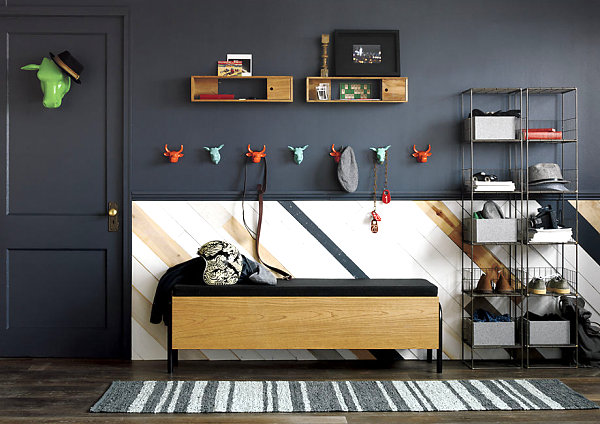 Charcoal gray in a room of neutrals and bright accents