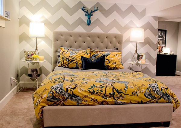 Chevron wallpaper for the bedroom accent wall always lends a touch of sophistication