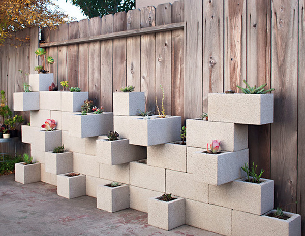 Cinderblock wall planter