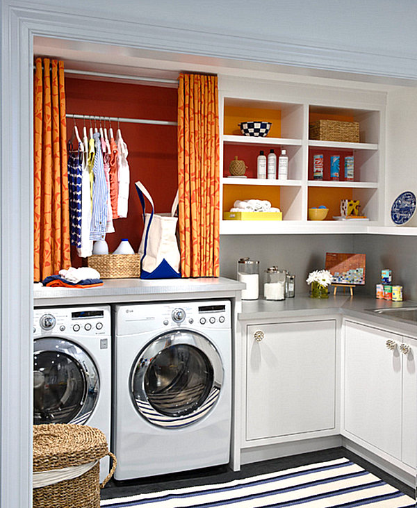 Colorful laundry room shelving idea