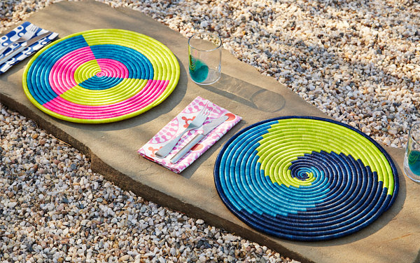 Colorful raffia placemats