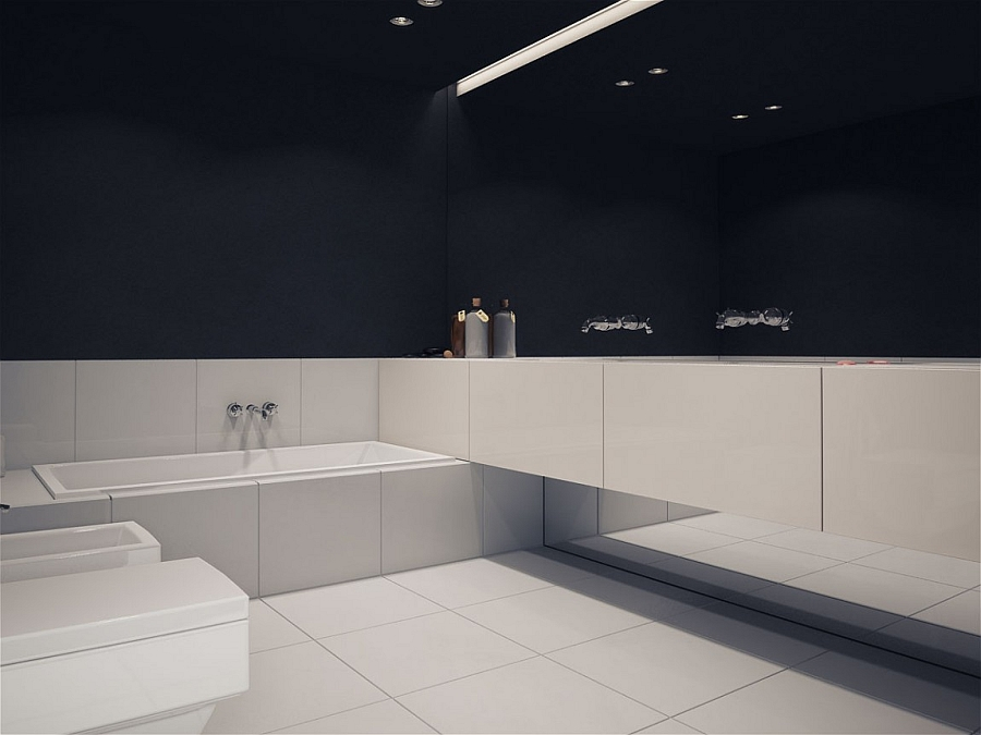 Contemporary bathroom in minimal dark and light shades
