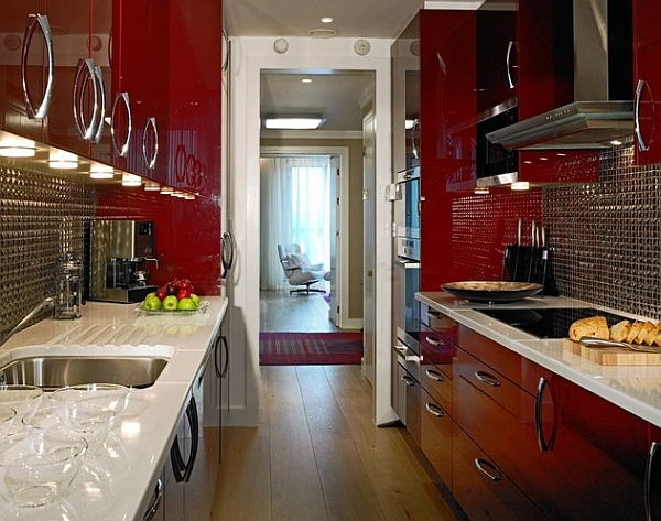 Contemporary kitchen cabinets in lacquered red