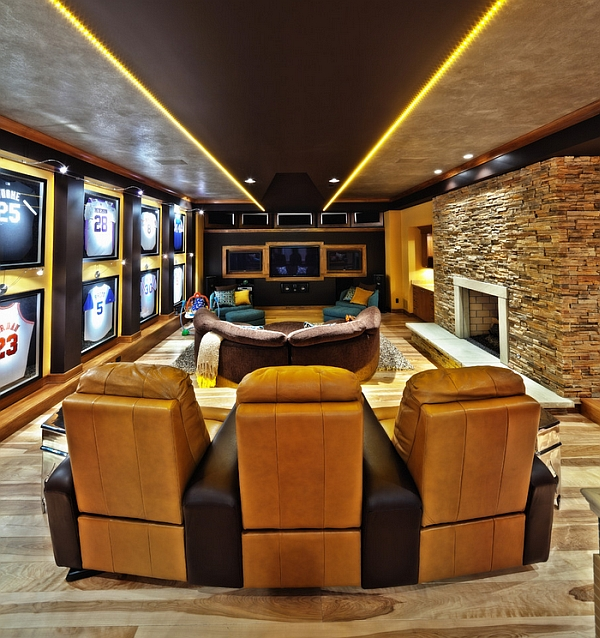 View In Gallery Contemporary Media Room Allows You To Enjoy Those Big Sporting Moments