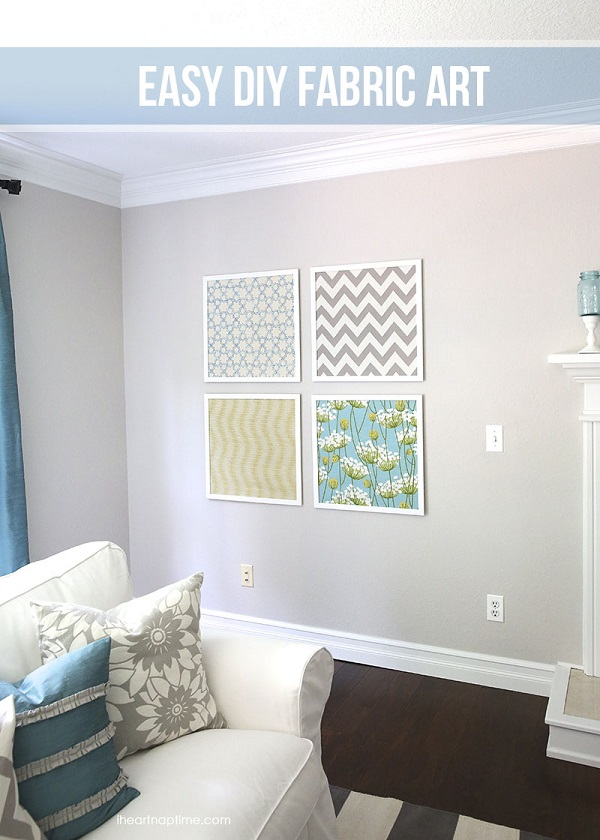Coordinating fabric wall art DIY Fabulous DIY Fabric Wall Art For A Spring Home Decor Update