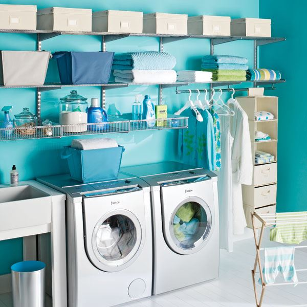 Customizable laundry room shelving center from elfa