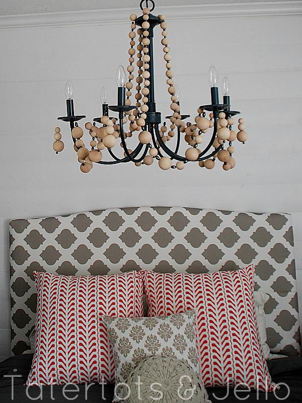 DIY wood beaed chandelier