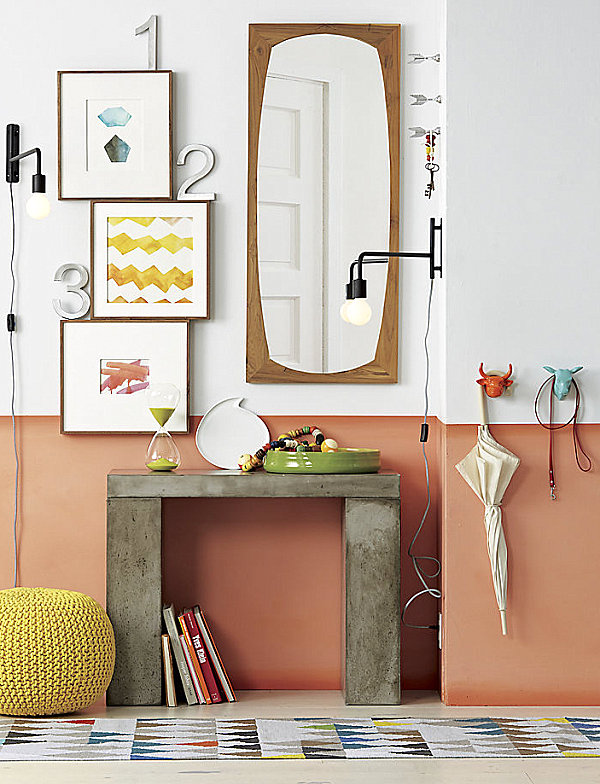 Dusty peach and white bedroom
