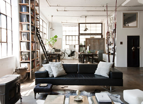 Eclectic loft living room
