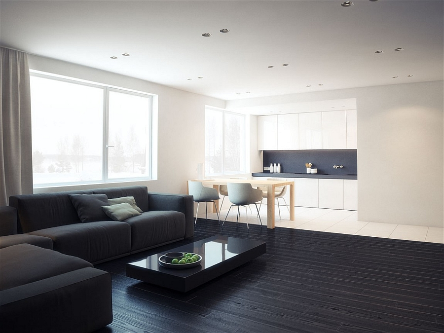 View in gallery elegant kitchen and dining area in the minimalist apartment