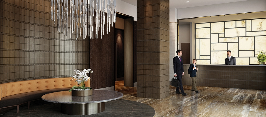 Exquisite lobby of the One Riverside Park