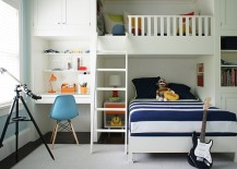 Exquisite small bedroom bunk bed idea with a table below
