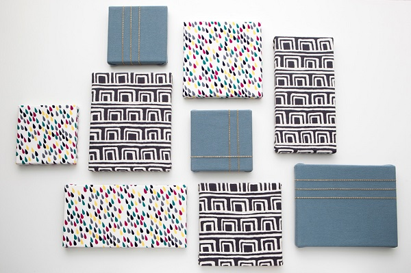 Fabric-covered canvases with different patterns