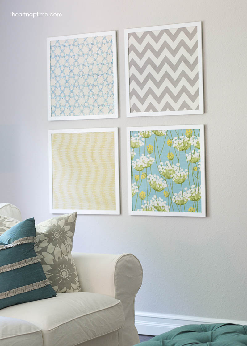 Fabric wall art DIY with coordinating patterns Fabulous DIY Fabric Wall Art For A Spring Home Decor Update