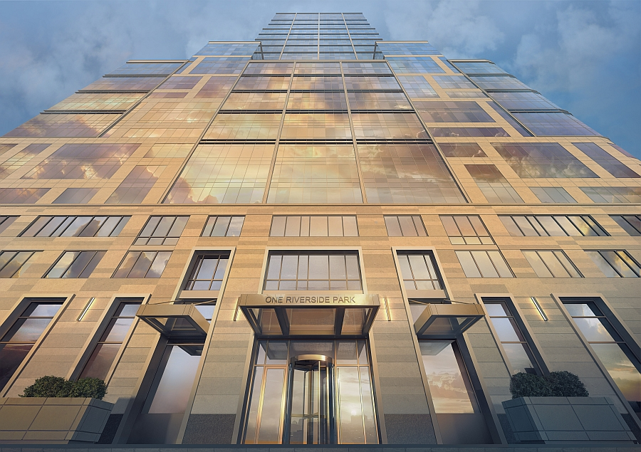 Facade of the One Riverside Park Luxury Waterfront Condominium With Expansive Views of NYC Skyline: One Riverside Park